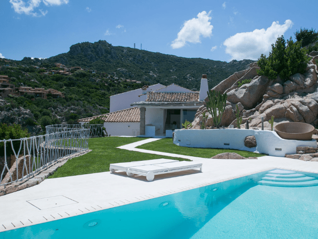 holiday home sardinia with pool: villa pantogia with pool and seaview