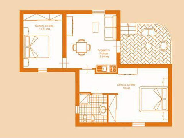 Plattegrond Trilo 6 Appartement - Baia delle Palme - Sardinië